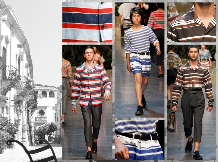 Показ мужской коллекции Dolce&Gabbana SS13 - Полосы