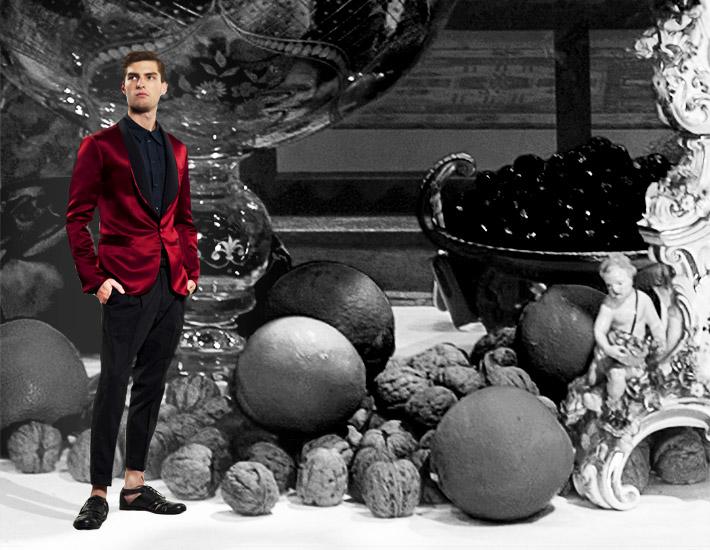 Мужская коллекция Dolce&Gabbana SS13 для рождественских вечеринок, красный смокинг