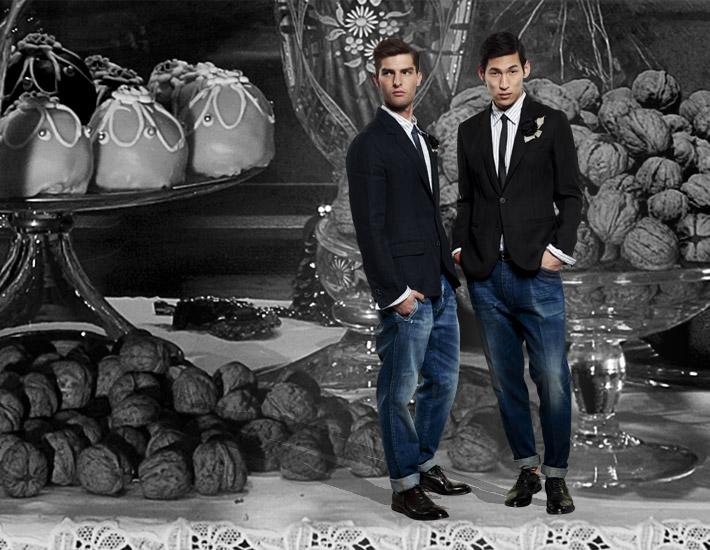 Мужская коллекция Dolce&Gabbana SS13 для рождественских вечеринок, пиджак и джинсы