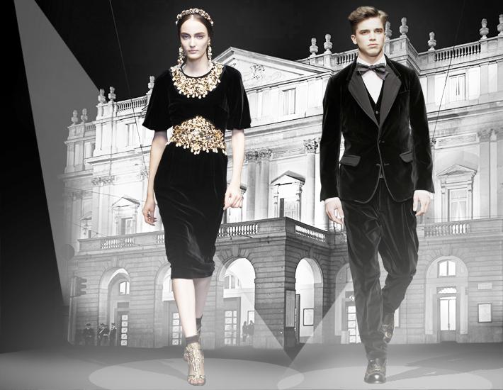 Вечерние наряды Dolce&Gabbana FW13 Baroque, бархат