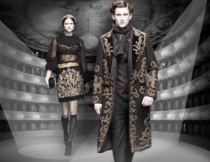 Вечерние наряды Dolce&Gabbana FW13 Baroque, вышивка