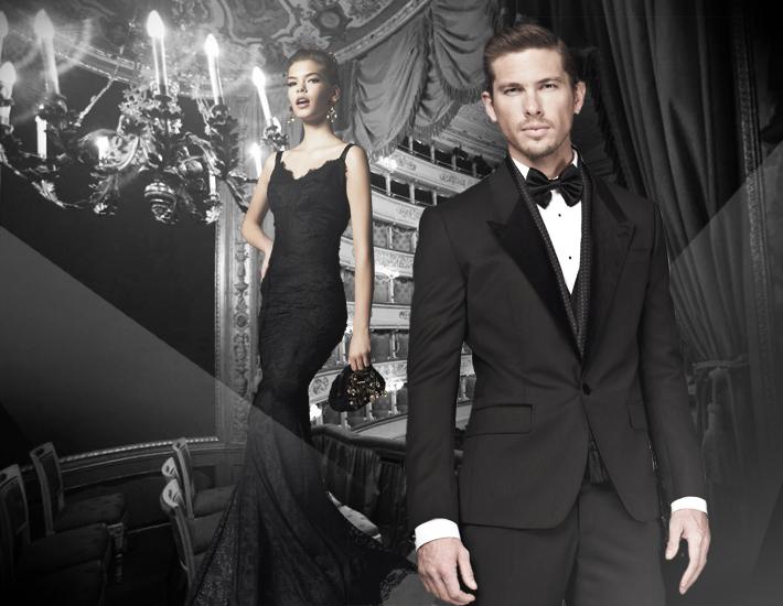 Вечерние наряды Dolce&Gabbana FW13 Baroque, кружевное платье и смокинг