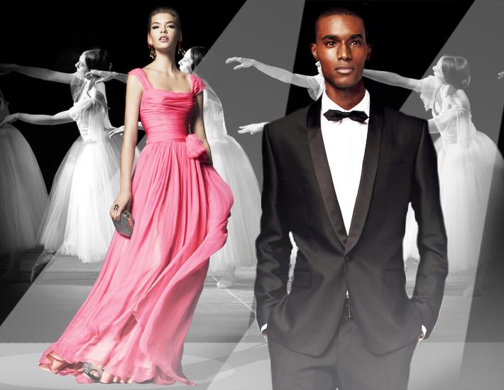 Вечерние наряды Dolce&Gabbana FW13 Baroque, розовое платье и смокинг