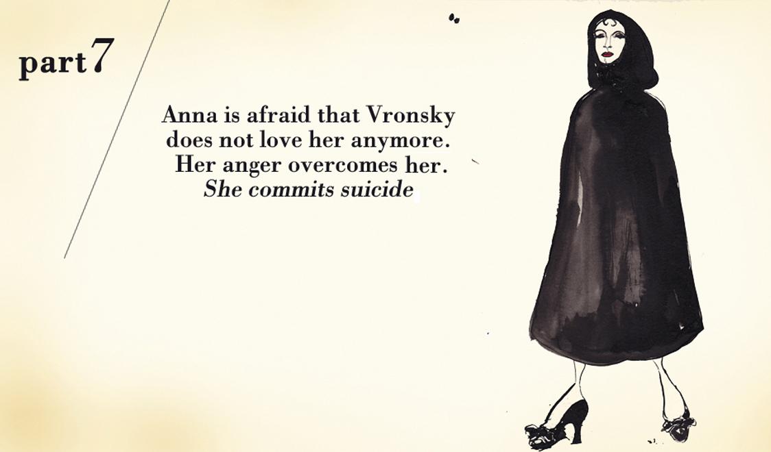 Часть седьмая. Анна боится, что Вронский больше не любит ее. Ее охватывает гнев. Она кончает жизнь самоубийством.