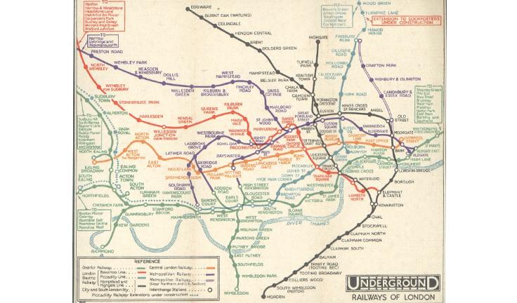Схема Лондонского метрополитена до того, как Гарри Бек использовал топологию