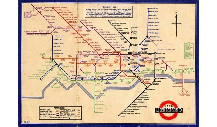 Первая схема Лондонского метрополитена после разработки Гарри Бека