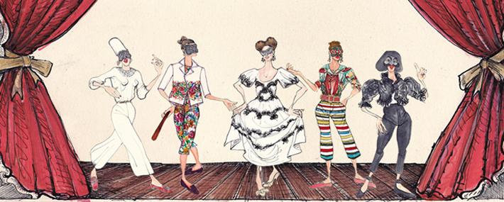 Герои Комедии дель арте в Dolce&Gabbana, иллюстрации Лючио Пальмиери