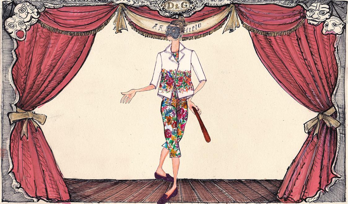 Арлекин в Dolce&Gabbana иллюстрация Лючио Пальмиери