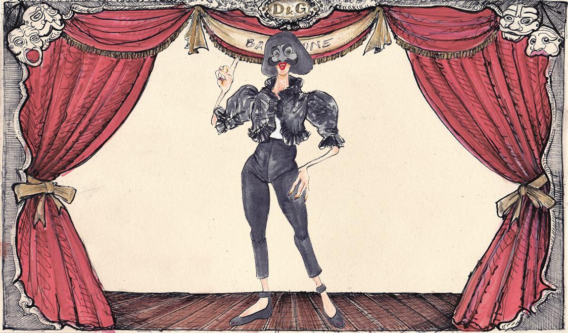Баландзоне в Dolce&Gabbana иллюстрация Лючио Пальмиери