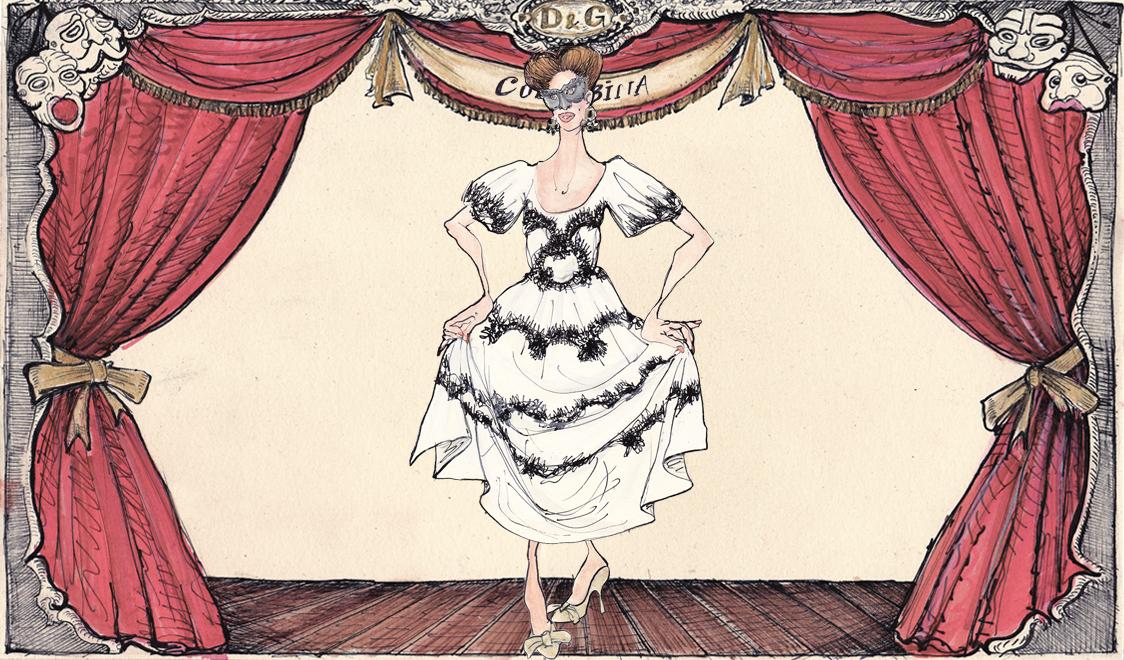 Коломбина в Dolce&Gabbana иллюстрация Лючио Пальмиери