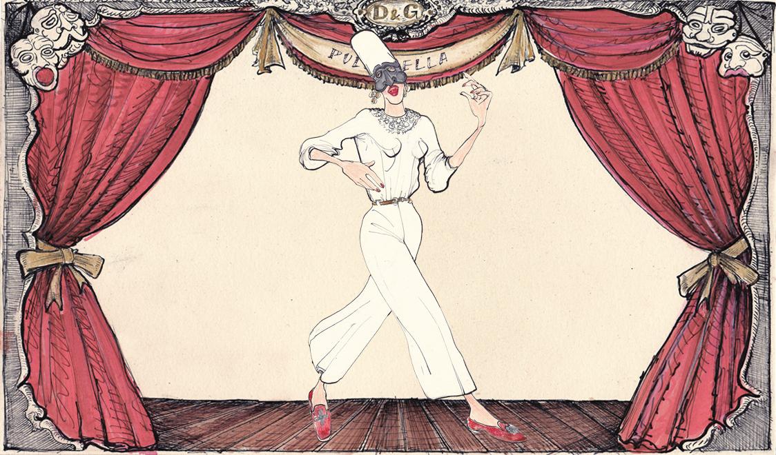 Пульчинелла в Dolce&Gabbana, иллюстрация Лючио Пальмиери