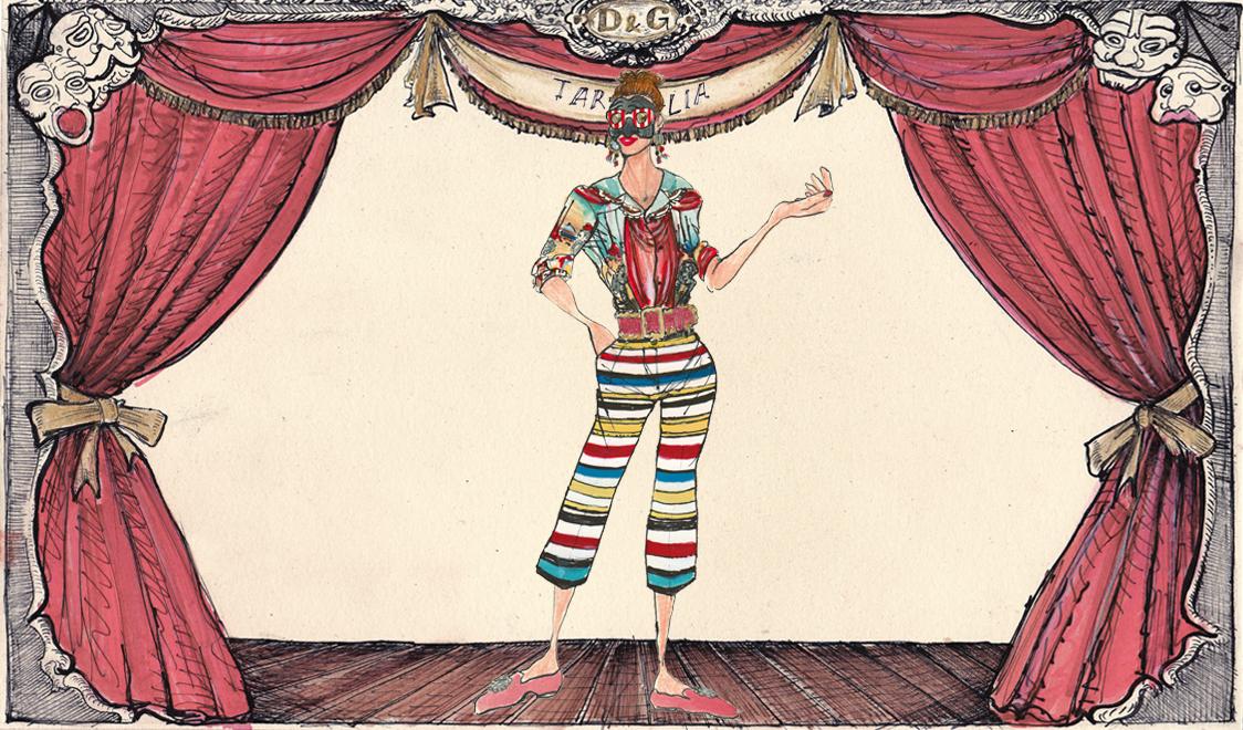 Тарталья в Dolce&Gabbana, иллюстрация Лючио Пальмиери