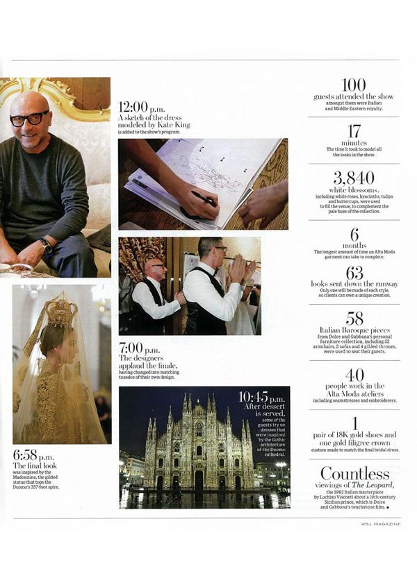 Dolce&Gabbana Alta Moda в WSJ