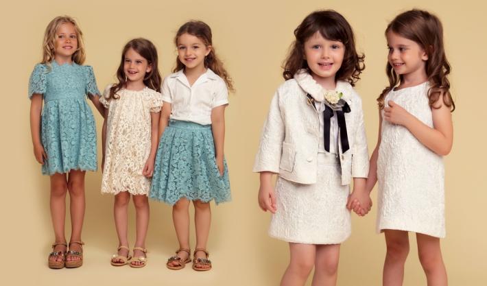 Детская коллекция Dolce&Gabbana для особых случаев, кружево и парча