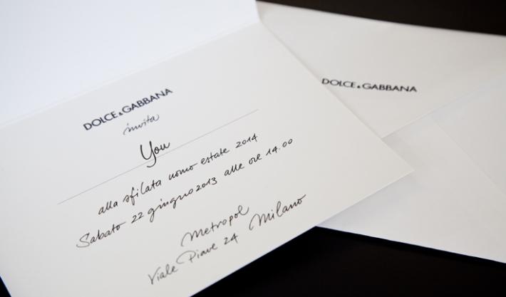 Приглашение на модный показ Dolce&Gabbana SS14