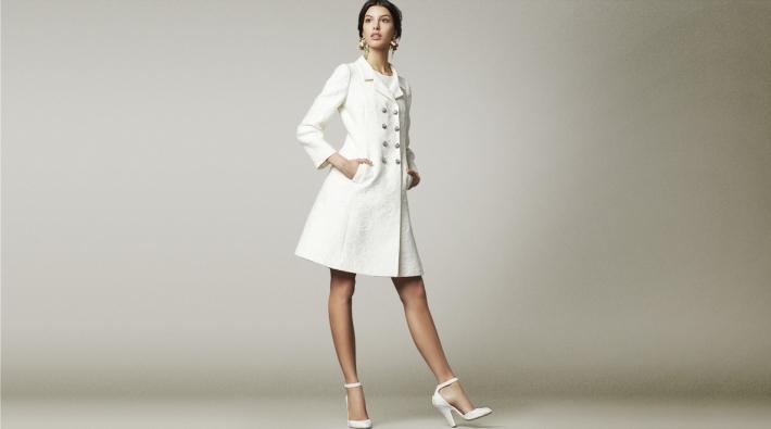 Dolce&Gabbana FW14, белое парчовое пальто
