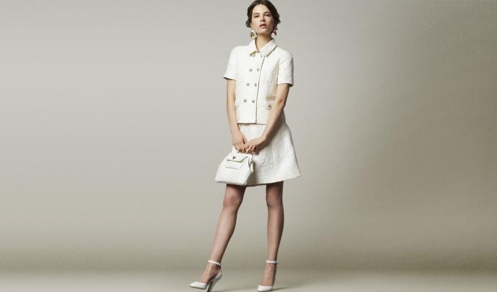 Dolce&Gabbana FW14, белый парчовый костюм