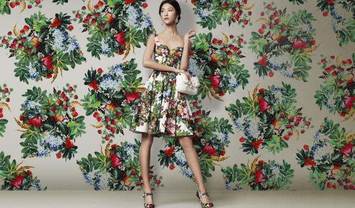 Dolce&Gabbana FW 2014, платье с цветочным принтом