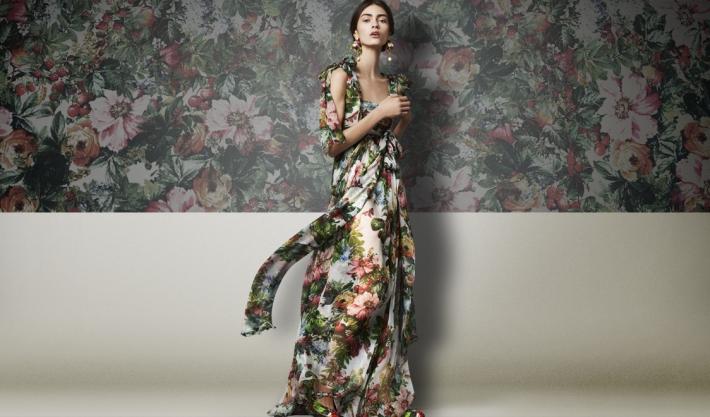 Dolce&Gabbana FW 2014, платье из шифона с цветочным принтом