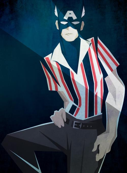 Капитан Америка в Dolce&Gabbana, иллюстрация Питера МакНирни