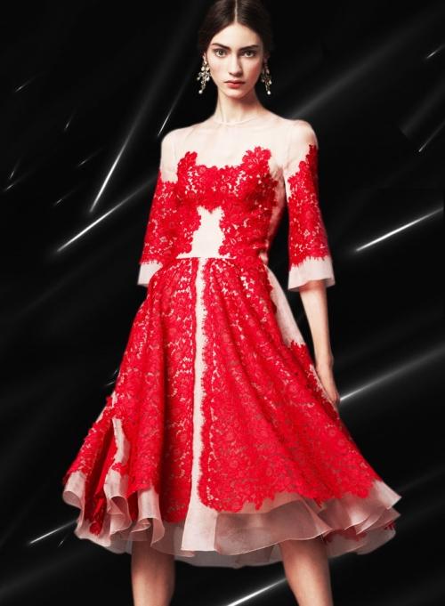 Dolce&Gabbana FW14, платье из органзы с кружевной аппликацией