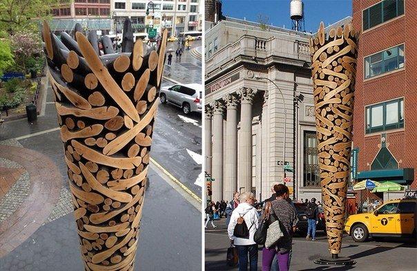 скульптуры и мебель из деревянных отходов