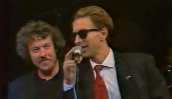 """А.Макаревич и В.Сюткин на презентации альбома """"Медленная хорошая музыка"""". 1991 год. Источник: youtube.com"""