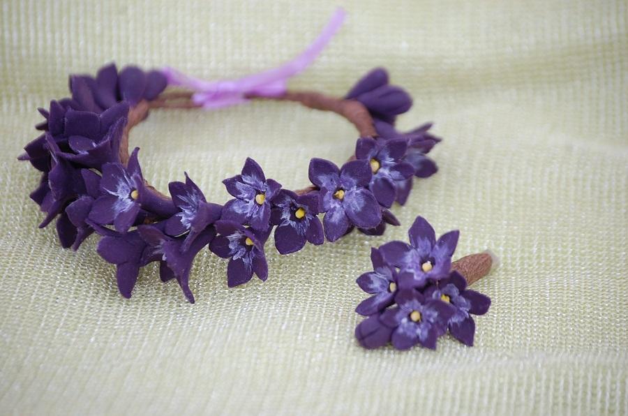 4 набор браслет и брошь фиолетовые