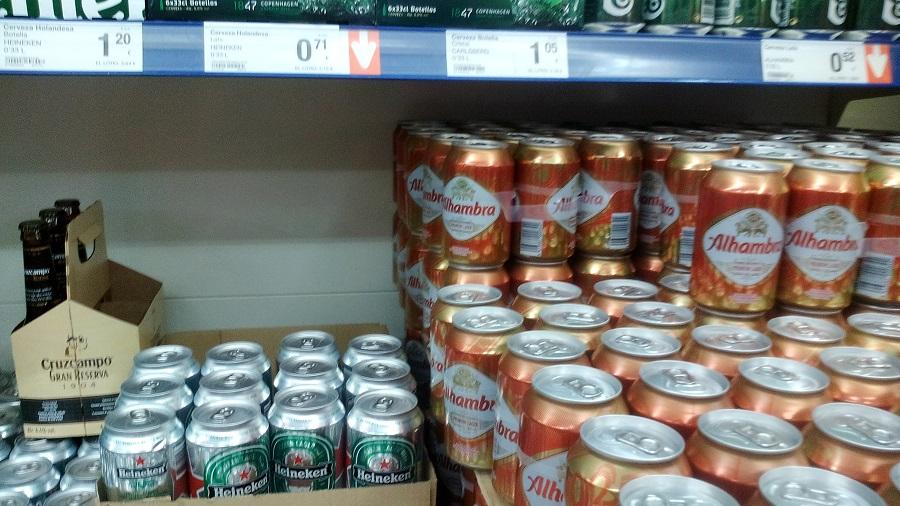 11баночка пива helneken y alhambra