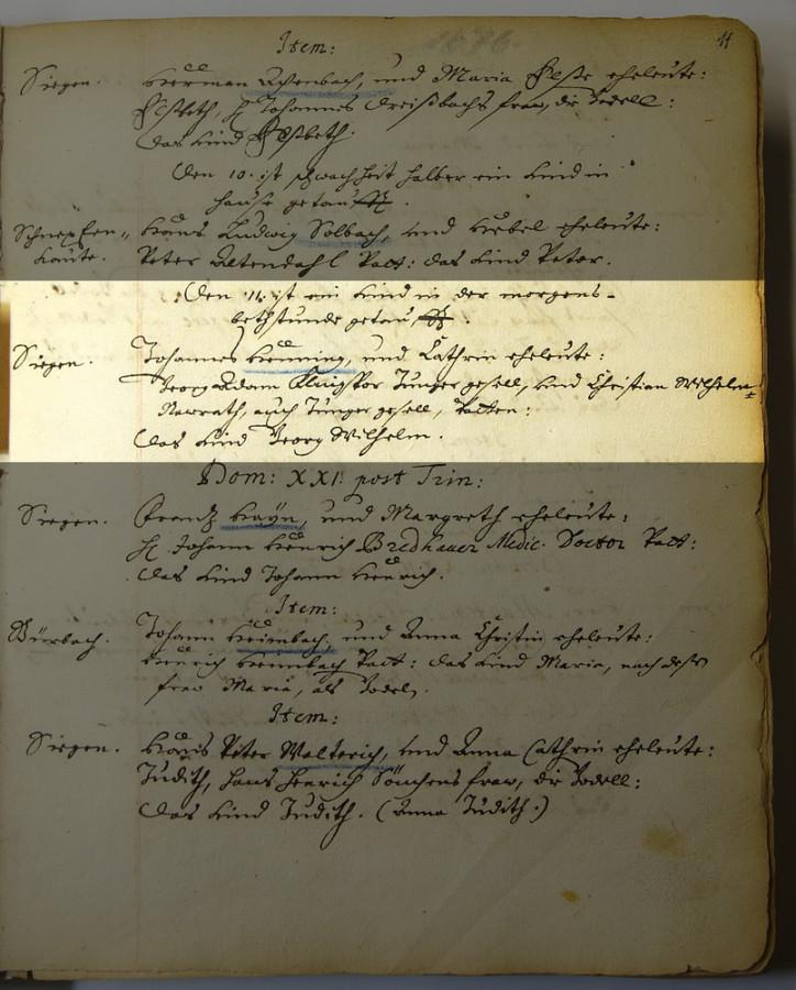 Запись о крешении Г.В.Геннинга. 1676 г.