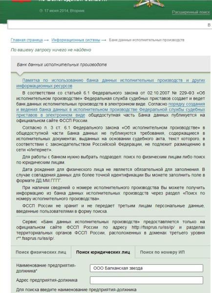долги ООО Балканская звезда на 17.06.2014