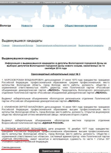 Выборы городской Думы 2014 видвижение Анатоля Грязнова