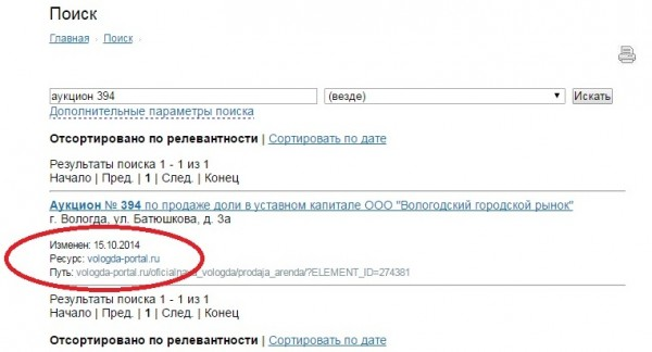 Дата изменения сведений об аукционе по Вологодскому городскому рынку