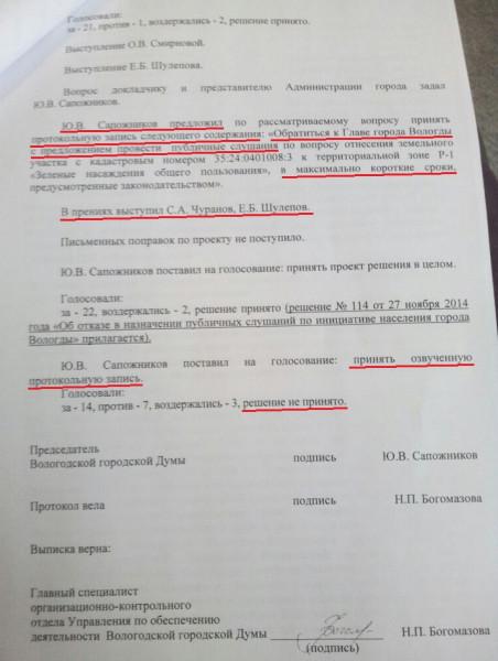 Протокольная запись в решении Гордумы