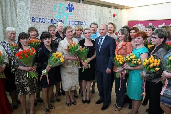 Президент Путин в Вологде на льнокомбинате. фото с сайта Президента kremlin.ru