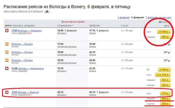 Цена на поезд 6 февраля 2015 года