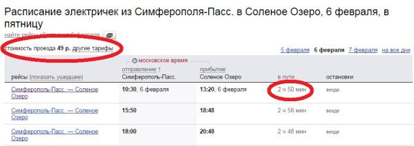 Цены на электрички в Симферополе