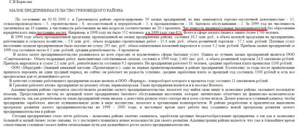 Рост предпринимателей Грязовецкого района за 15 лет