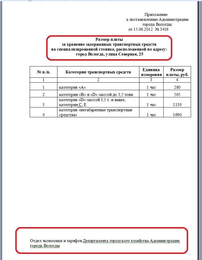 Постановление № 3416 приложение