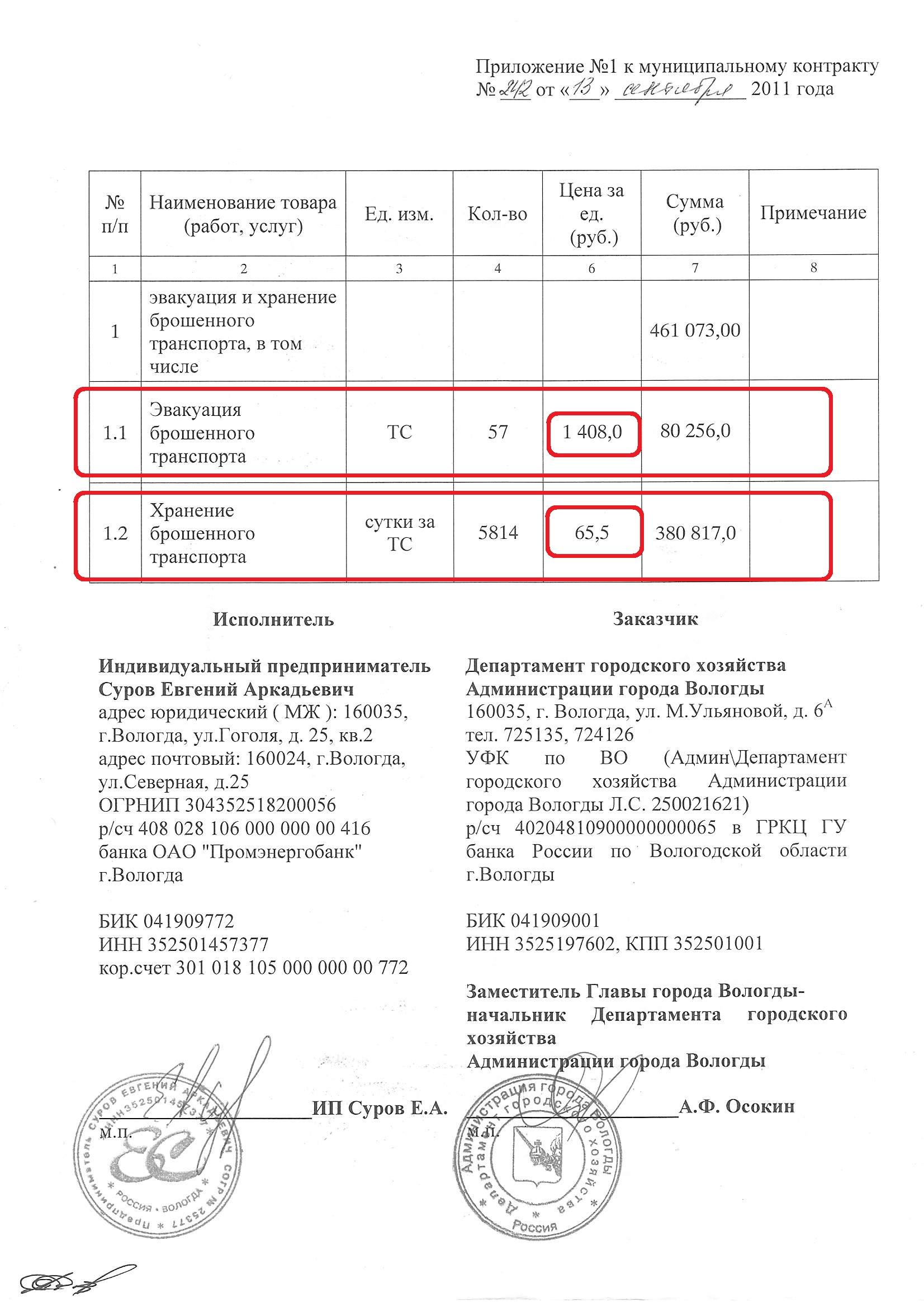 Стоимость хранения Суровым в 2011 году МК N242-5