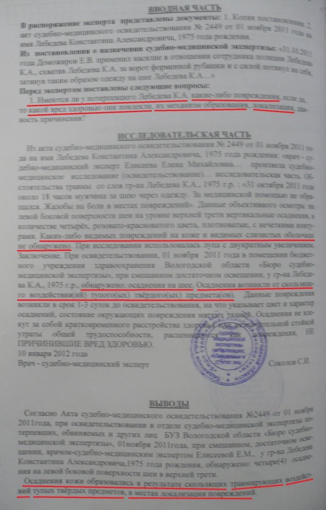 Заключение эксперта Сергея Соколова по делу о нападении на Константина Лебедева