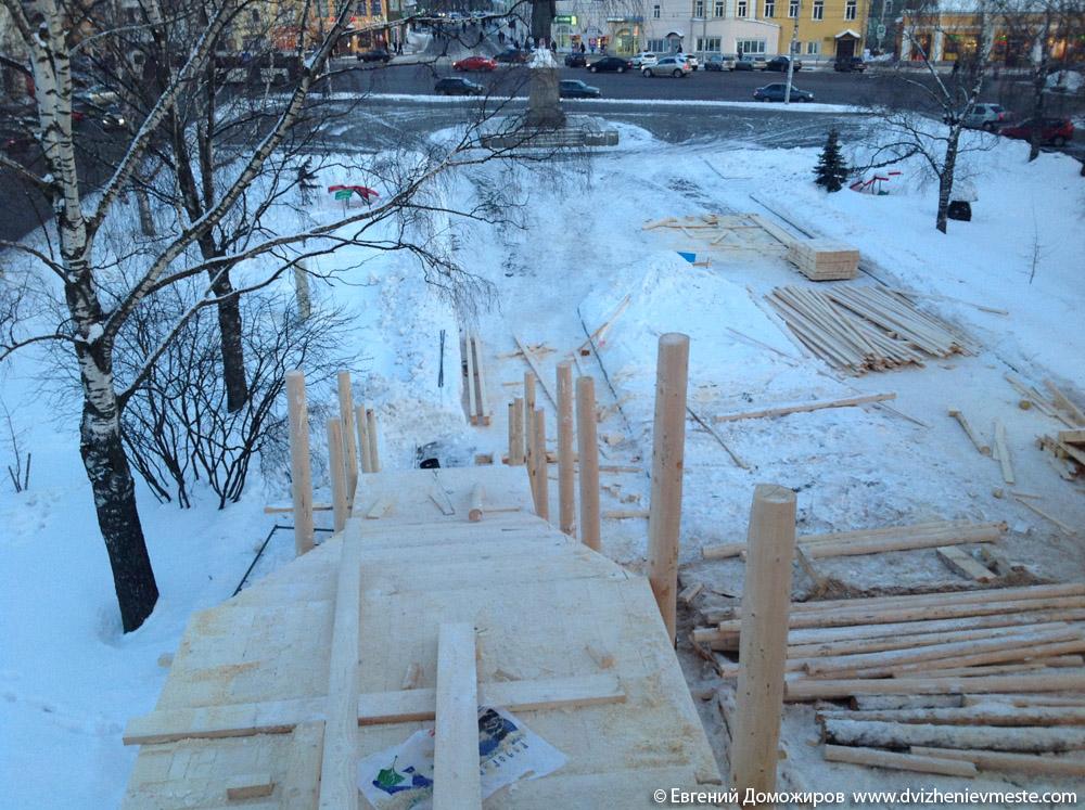 Деревянная горка в центре Вологды на 20-е февраля (4)