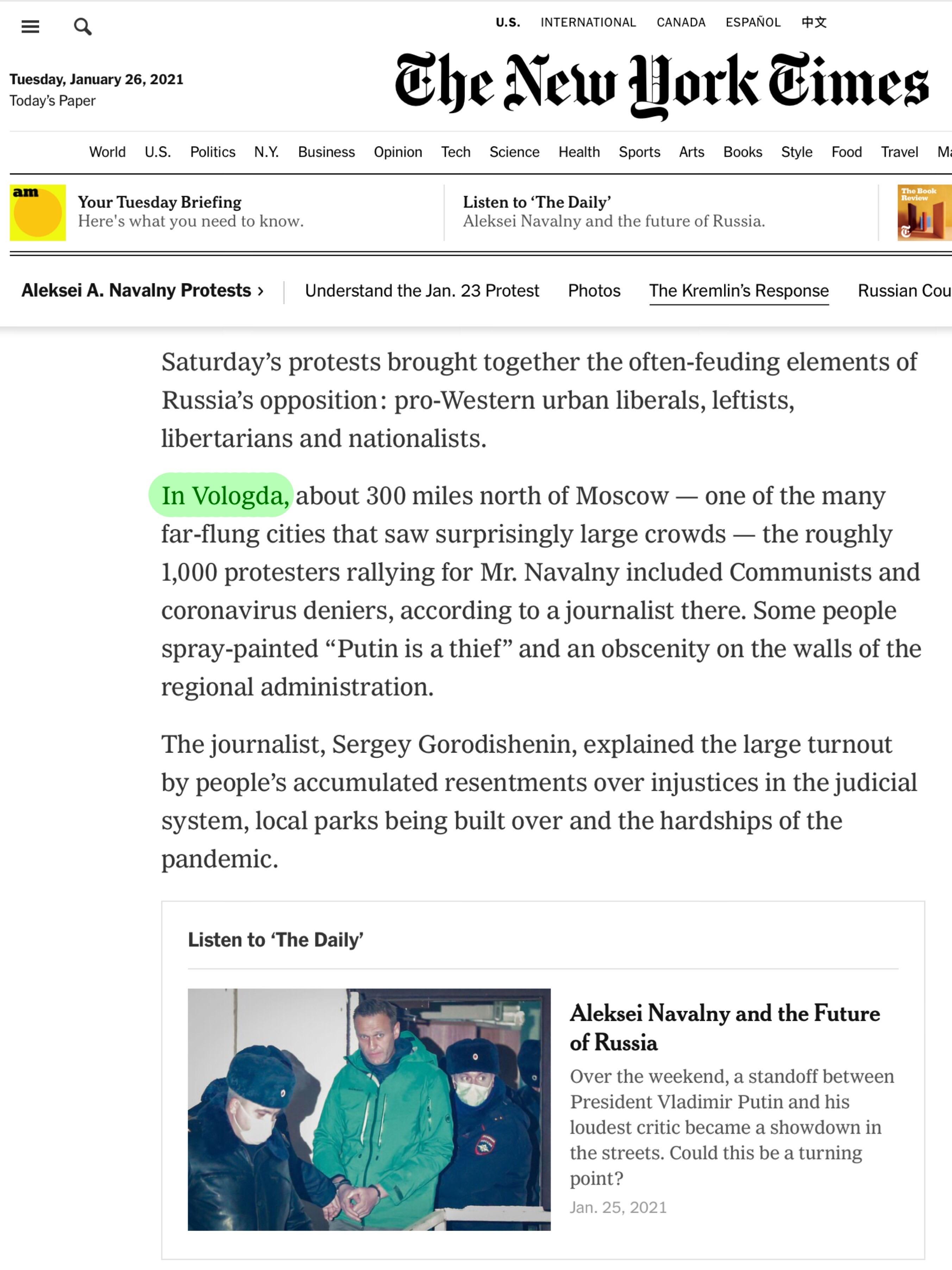 Нью Йорк Таймс о протестах 23 января в Вологде.JPG