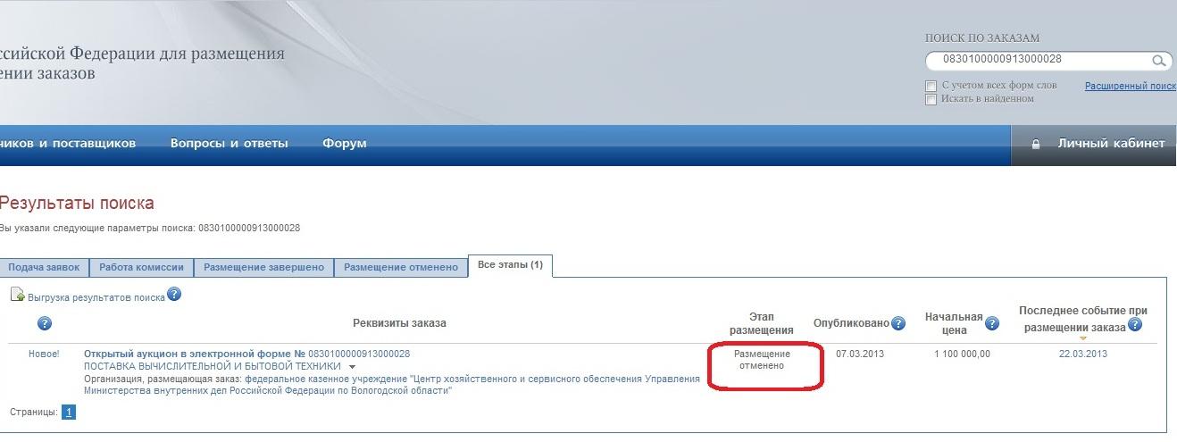 Отмененный заказ на 22 хлебепечки для Вологодской полиции от 7 марта 2013 года