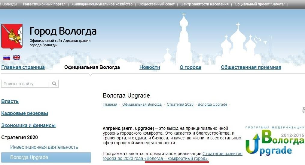 Вологда Комфортный город