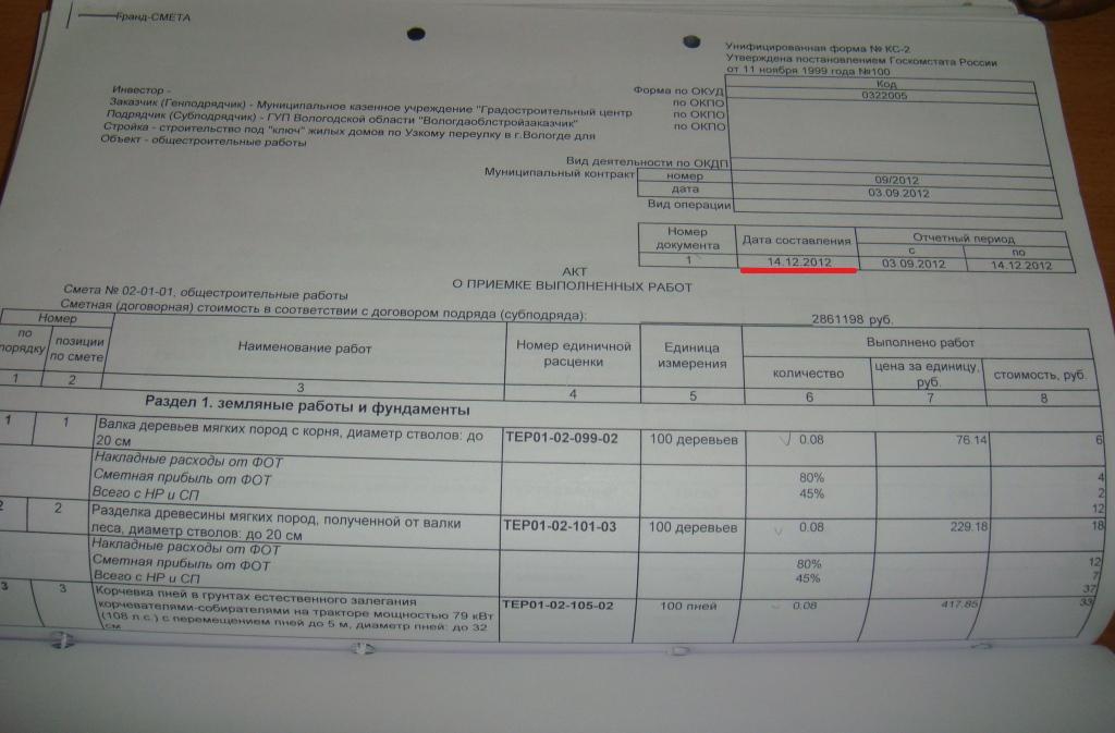 Акты КС 2 от 14 декабря 2012 года