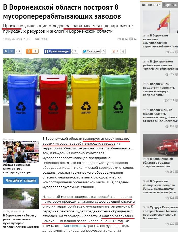 Мусорные заводы в Воронеже