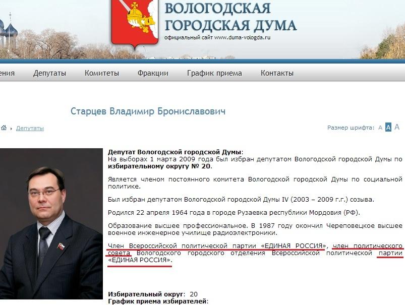 Старцев Владимир Брониславович на сайте Гордумы 06.02.14