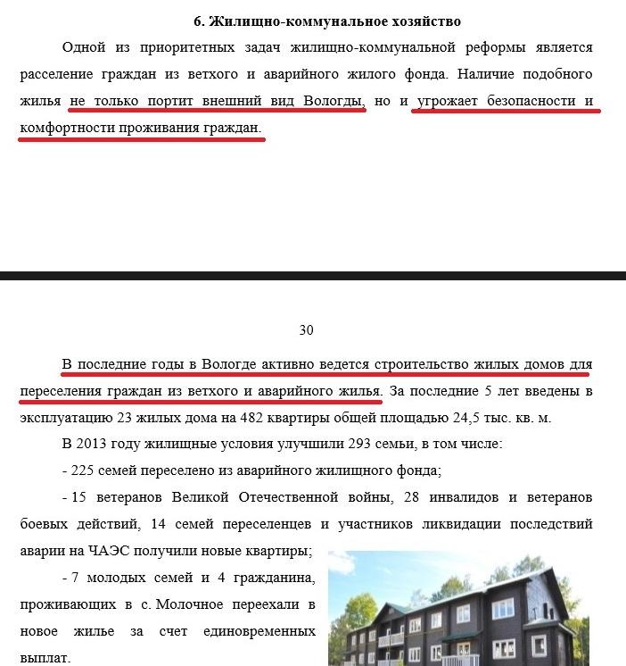 Из Публичного доклада Главы Вологды о ветхом и аварийном жилье