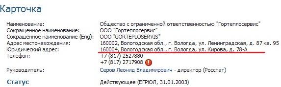 Вологда. Кирова 78А. Почтовый адрес Гортеплосервис